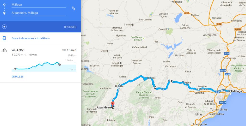 Ruta prevista para el primer día. ¡Gracias Google!